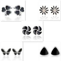 2017 Mais novos 925 Sterling Silver Stud Earrings Retro Black Butterfly Chrysanthemum Clover Earrings Stud for Women Moda Lady Girl Jewelry