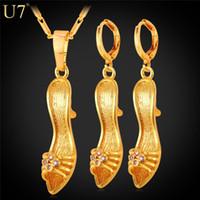 altın kaplama ayakkabı topuklu toptan satış-Yeni Yeni Yüksek Topuk Ayakkabı Kolye Kristal Hediye Kadınlar Için Parti Hediye 18 K Gerçek Altın Kaplama Kolye Küpe Set Takı Seti S819