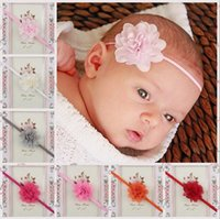 Wholesale Thin Toddler Headbands - Baby Headbands Mini Chiffon Flower Headbands Thin Elastic Bands Toddler Girls Newborn Headbands 20pcs