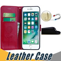 Wholesale Iphone Flip Leather - For iPhone 5s 6s 6 Plus 7 Plus Card Slot Flip Stand Leather Case with Wallet For Samsung S7 Edge S8 Plus
