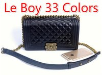 Wholesale Boys Skull Denim - 67086 Colors Vintage Bag Outer Lock Plaid Chain Bag Women Handbag Classic V Shaped Flap 1112 1113 Le Boy Bag
