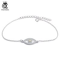Wholesale Pave Link Chain Wholesale - ORSA Romantic Platinum Plated Chain Bracelets AAA Cubic Zircon Micro Paved Eye Shape Bracelet for Young Lady OB25