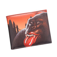 Wholesale Men Sexy Photos - Sexy Lips Orangutan Wallet American Rock & Roll Music Like A Rolling Stone Bifold Short Leather Wallet And Purse For Men Animal Wallet Gift