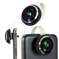 Universale 235 a forma di arco Clip Super Fisheye Fish Eye Lens per iPhone SE / iPod / Samsung S6 Note 5 4 Cellulare CL-36, spedizione gratuita