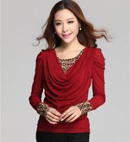 Wholesale Shirt Korean Leopard - Fashion Female Korean Slim False Two Pieces Leopard Splicing Long Sleeved Shirts Blouses