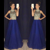 Wholesale chiffon heavy - Royal Blue Heavy Beaded Prom Dresses 2016 Halter Sexy Backless Long Prom Gowns A Line Floor Length Tulle Evening Party Gowns