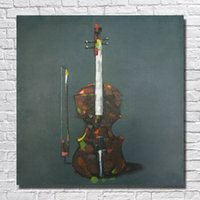 Wholesale Guitar Modern Art Painting - Free shipping modern home goods oil painting nice designer home decor hand painted art guitar canvas oil painting