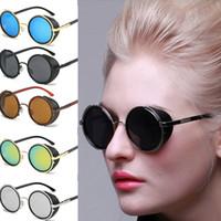 Wholesale restore mirrors - Round sunglasses for Women Vintage Sunglass Men Mirror Circle Round Frame Restoring Mirror Eyewear Sun glasses