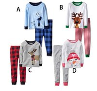 Wholesale Children S Clothing Leopard Print - Children 's Leisure Home two pieces suit T shirt + Leggings Cartoon Christmas snowman deer printed baby clothes E486