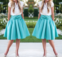 Wholesale Cheap Ladies Winter Clothes - Gorgeous Blue Satin Mini Skirt 2017 Spring Autumn Lady Skirts With Bow On Waist Knee Length Women Prom Party Gowns Cheap Clothing