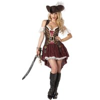 Wholesale Sexy Women Costume Pirate - Sexy Women Pirate Costume High Quality Fancy Dress Pirates of the Caribbean Adult Halloween Party Cosplay Costumes