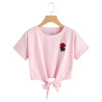High Street Topshop ricamo floreale breve rosa T-shirt donna Top Tees 2017 estate casual arco fasciatura Ladies Crop Top