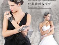 Wholesale Lace Tatoo - 50pcs White Black Lace Design Temporary Tattoo Waterproof Transferable Fake Flash Tatoo Sticker Temporary Flash Tattoo Body Art