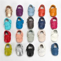 Wholesale Walking Shoes Infant Toddler Leather - High Quality Genuine Leather Baby Moccasins Cow Leather Tassels Walking Shoes Anti-slip Soft Sole 20 Colors Infant Toddler