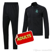 Wholesale Football Pants Black - Real Madrid soccer 2017 Real madrid Man soccer chandal football tracksuit Adults training suit skinny pants Sportsw