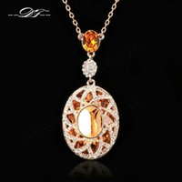 Wholesale Exaggerated Alloy Gemstone Necklace - Exaggerated Large Imitation Crystal Princess Tear Necklaces & Pendants Imitation Gemstone Vintage Jewelry For Women Chains DFN004