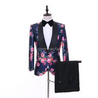 mejor ropa de boda al por mayor-2018 Ropa escénica Slim Fit Groom Tuxedos Trajes de hombre Terno masculino Mejores padrinos de boda Trajes de boda (chaqueta + pantalón)