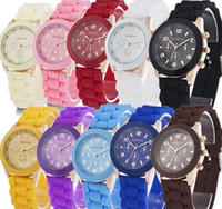 Wholesale China Wrist Watches - China luxury mens-watches women men geneva watch rubber candy jelly fashion unisex silicone quartz wrist watches for men women wristwatch