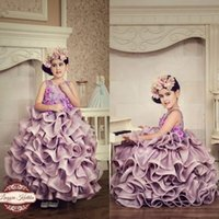 Wholesale Purple Flower Cup - Tier Ruffles Girls Pageant Dresses 2017 Ball Gowns Kids Cup Cake Dresses Jewel Neck Appliques with Hand Made Flowers Kids Formal Party Gowns