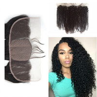 Wholesale Base Top Closures - Brazilian Kinky Curly Silk Base Lace Frontal 13x4 Virgin Human Hair Silk Top Lace Frontal Closure Piece With Baby Hair Bleached Knots G-EASY
