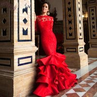 Wholesale Layered Evening Gowns Plus Size - 2016 New Red Lace Applique Mermaid Prom Dresses High Neck Layered Skirt Illusion Long Sleeves Backless Evening Dresses Party Gowns BA0603