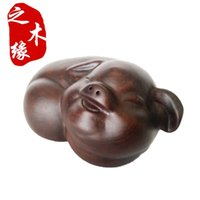 0 carved wood pig - Ebony wood carving crafts mahogany ornaments on pig happy fortune of lovely pig Zodiac gifts