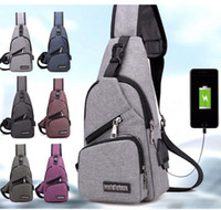 Wholesale Wholesale Sling Bag - external USB charge chest bags pack travel crossbody bag For boys and girls Sling Shoulder Bag Travel Sport Purse with USB Charging KKA3157