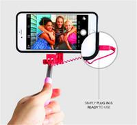 casos de selfie venda por atacado-Para iphone 6/6 s plus selfie vara, portátil extensível monopé wired selfie case capa case para iphone 6 casos selfie vara