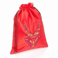 Wholesale Fine Embroidered Portable Bra Underwear Lingerie Travel Storage Bag Reusable Drawstring Satin Fabric Gift Pouch Craft Packaging Bags x35cm