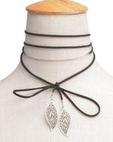Wholesale Velvet Diy - Boho Long Leather New Fashion DIY Velvet Long Choker Necklace Leather Choker Black White Brown Multilayer Necklace Tattoo Collar xr160799-8
