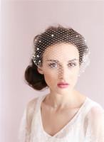 romantische hochzeitsschleier großhandel-Romantische Birdcage Braut Gesicht Schleier Perlen Brautschleier mit Kamm Zubehör Elfenbein Brautschleier Party Zubehör