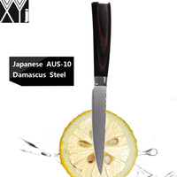 Wholesale japanese utility knives - XYJ brand damascus knives 5 inch utility kitchen knives 67 layers of Japanese Aus-10 damascus steel best professional chef knife