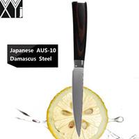 facas japonesas damasco venda por atacado-XYJ marca damasco facas 5 polegada facas de cozinha utilitário 67 camadas de japonês Aus-10 damasco aço melhor profissional faca do chef