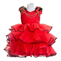 Wholesale Tutu Accessories Wholesale - PrettyBaby 2016 summer girls red dress high quality sleeveless cake dress necklace accessories Ball Gown free shipping