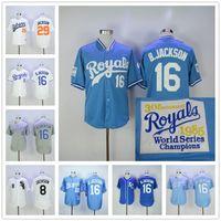 Wholesale Royal Jerseys - Bo Jackson Jersey Kansas City Royals Baseball 1985 1987 Turn Back Chicago White Sox Auburn 29# Blue White Cooperstown