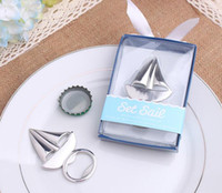 Wholesale Bridal Party Presents - 50pcs sailing Bottle Opener Wedding Favors and gift box Wedding bridal shower Party gift aways Guests gift box Presents
