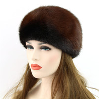 Wholesale Genuine Mink Hat - Wholesale-Genuine Winter 2016 Mink Fur Hat cap in women clothing Fur Headdress Warm Fashion Cap Hats Headgear