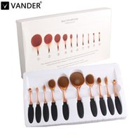 Wholesale Cosmetic Brush Hair - 10pcs Toothbrush Makeup Brushes Professional Oval Make up Brush Set MULTIPURPOSE Foundation Power Blush Blend Cosmetic Tools Kit w  Box