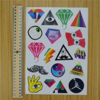 Wholesale Laptop Computer Skin Decal Sticker - Harajuku Diamond Doodle Luggage Tablet Laptop Skin Computer Stickers Eyeball Cartoon Motorcycle Bike Decal Car Styling Sticker