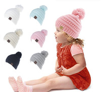 Wholesale White Baby Beanie - High Quality Designer Kids Acrylic Knitted CC Beanies Hats Knit Pom Ball Children Slouchy Winter Head Warmer Baby Hip Hop Snow Caps Gift