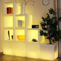 Wholesale Ice Cube Light Free Shipping - Free Shipping Waterproof H40cm 16colors Illuminated Plant Pots Square,CUBE LED glow Ice Bucket,Led flower Plant cubic Pot LIGHT