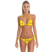 Wholesale Women Swimsuit Bandeau - 2016 women bikini Brazilian sexy Thong micro bikinis Swimsuit Bandeau swimwear beachwear Bathing suit PIKACHU bras wholesale