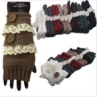 Wholesale Finger Crochet - Winter Gloves Warm Crochet Fitness Gloves Women Lace Button Wrist Warmer Ladies Soft White Fingerless Gloves Gants YYA744