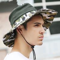 outdoor militärische wanderhüte großhandel-Outdoor Angeln Bucket Hat Wandern Jagd Bootfahren Snap Krempe Military Hat Camouflage Sun Cap Kostenloser Versand