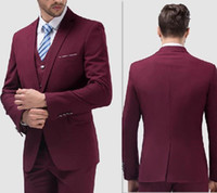 Wholesale Reference Label - Wine One-Button Peaked Label Tuxedos for Men Chic Back Slit Three Pieces Mens Suits High Quality Cheap Custom Made Suits (Pants+Jacket+Vest)