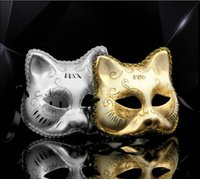 Целая продажа Brand New Golden And Silver Cat Face Mask Party Holloween Cosplay