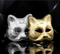Wholesale Wholes Sale Masks - Whole Sale Brand New Golden And Silver Cat Face Mask Party Holloween Cosplay