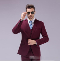 Rosa Mens Business Anzug Kaufen -Großhandel- Mens White Pink Navy burgundy Smoking Suits mit Hosen für Hochzeit GroomMen Business Party Anzug Slim Fit Burgund Anzug Zwei Stücke
