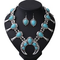 Wholesale Chuncky Jewelry - 2017Bohemia Big Western Chuncky Moon Necklace earring set jewelry Antique Silver turq nature Necklace jewelry African boho wholesale
