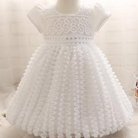 Wholesale Baptism Gowns Wholesale - 0-2yrs Newborn 2016 baby Chain Link Fence Baptism summer Dresses Christening Gown kids Girls party Princess wedding dress